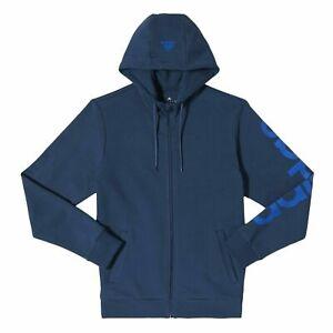 Détails sur Adidas Essentials Linéaire HOMME Capuche Bleu Marine Pull Fermeture Éclair Chaud