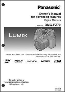 Details about Panasonic Lumix DMC-FZ70 Advanced Camera User Guide  Instruction Manual