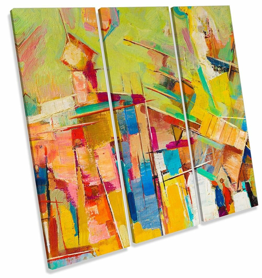Abstract Abstract Abstract Multi Colourot Framed TREBLE CANVAS PRINT Wall Art 2d4919
