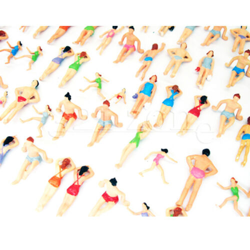 100 pcs mixed 176 Scale Figures painted OO Gauge Beach People Holiday Miniature