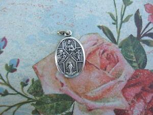 Vintage-Catholic-Medal-4-way-Cruciform-1950-039-s-Multi-images-Jesus-Mary-St-Joseph