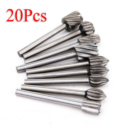 20pc HSS Router Bits Wood Cutter Milling Fits Grinder Rotary Tool High Quality