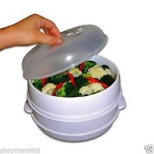 New 2 Tier Microwave Vegetable Steamer Cooker Healthy Pasta Rice Cooking Pot Pan