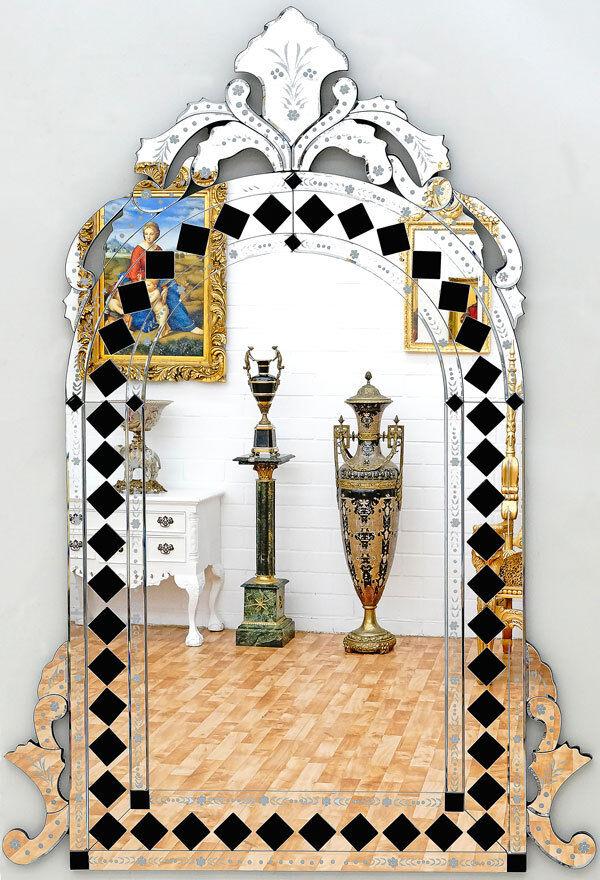 VENEZIANISCHER WANDSPIEGEL ca.140x96cm RAUTENMUSTER SPIEGEL, MURANO GLASSPIEGEL