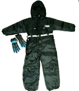 Tidal-Wave-Child-Black-Ski-Snowsuit-Size-7-Snowmobile-Kids-Jumpsuit-Hood-Gloves