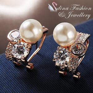 18K Rose Gold Plated Simulated Pearl /& Diamond Large Pinwheel Stud Earrings