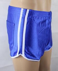 Franzoesische-Sporthose-Nylon-Glanzshorts-Boxer-Shorts-Badeshorts-blau-D9-XXXL