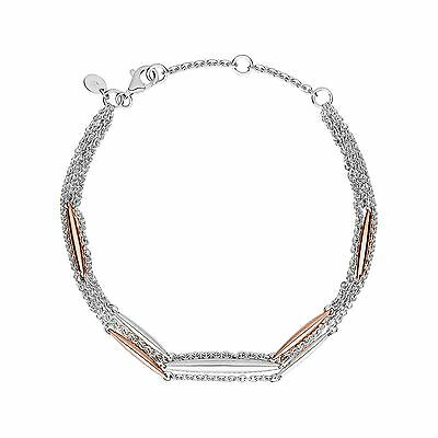 Links of London Womens Dome Bracelet Sterling Silver Rose Gold Vermeil Jewellery