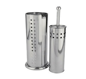 Stainless-Steel-Free-Standing-Toilet-Brush-amp-Roll-Holder-Loo-Bathroom-Cleaning