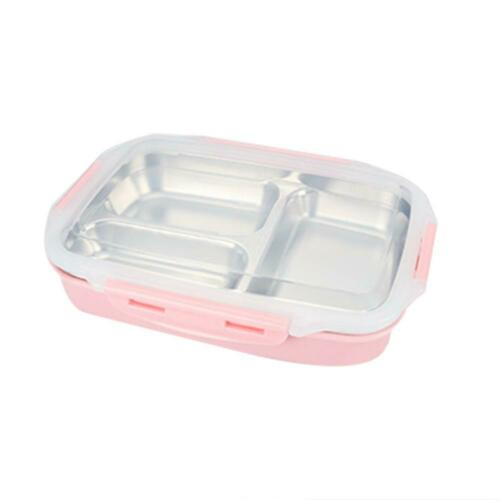 Stainless Steel Thermal Insulated Lunch Box 3 Grid Bento Food Container Storage