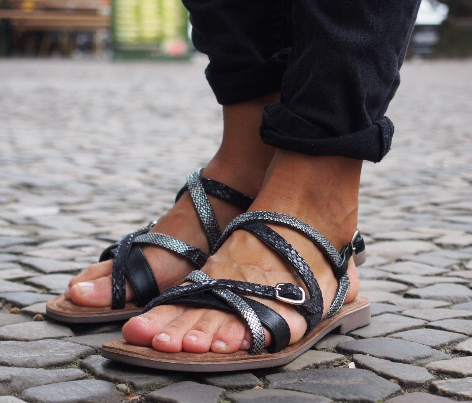 LAZAMANI Damenschuhe schwarz Sommerschuhe Echtleder/Innensohle Sandalee 414 NEU