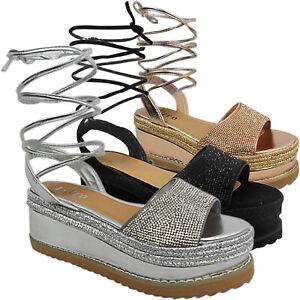 Mujer Con Cuña Zapatos Tobillo Plataforma Alpargatas Media Nuevo qqxvCg