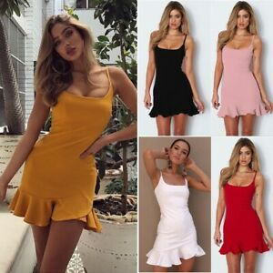Volant Kleid Sommerkleid Rosa Rot Kurz Elegant Bleistift Party Clubwear 36 38 40 Ebay