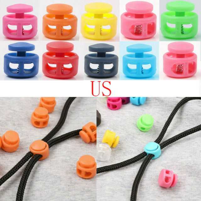 10*Toggle Double Hole Spring Elastic Drawstring Rope Cord Lock Clip End Stopper