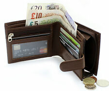 Gents Real Leather Wallet Credit Card Zip Coin Pocket Purse & ID Window 42 Brown