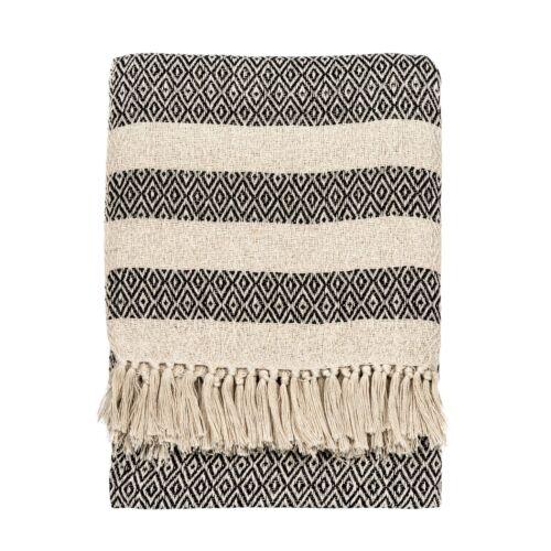 Sass /& Belle Scandi Boho Negro y Crema de Algodón Manta Cobertor hogar decoración geométrica