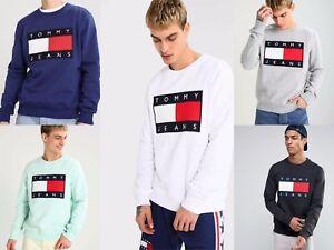 Das Bild wird geladen Tommy-Hilfiger-90s-Jeans-Big-Flag-Sweatshirt-Pullover- 1c7e8e5e76
