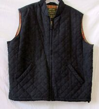 """XL Orvis Men's """"Signature Collection"""" Quilted Vest Dark Charcoal W/Plaid Lining"""