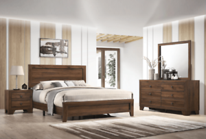 NEW 4PC Brown Rustic Queen King Twin Full Bedroom Set Modern Furniture Bed/D/M/N
