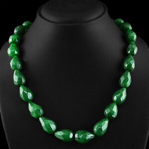 535-00-CTS-EARTH-MINED-RICH-GREEN-EMERALD-PEAR-FACETED-BEADS-NECKLACE-STRAND