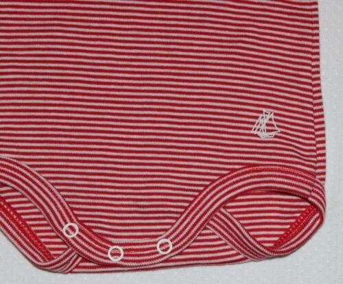 Petit Bateau Langarm-Rolli-Ringelbody rot-weiß NEU Gr.62-98