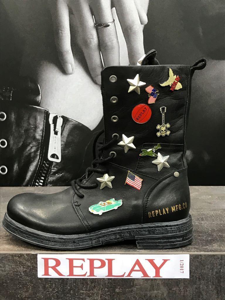 Replay Damenschuhe Schuhe Stiefel Stiefelette Stiefel Leder Evy mit Broschen