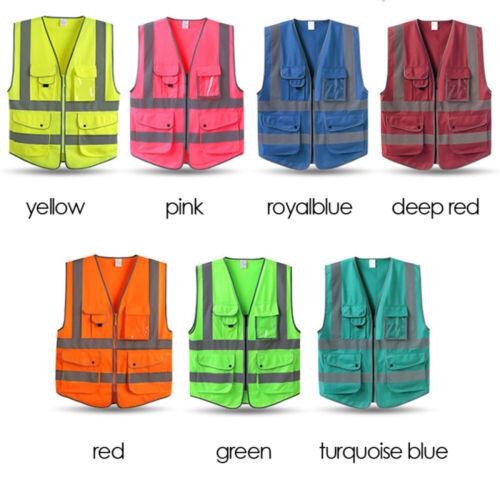 Unisex High Visibility Reflective Vest Secure Reflective Vest w//Zipper Waistcoat