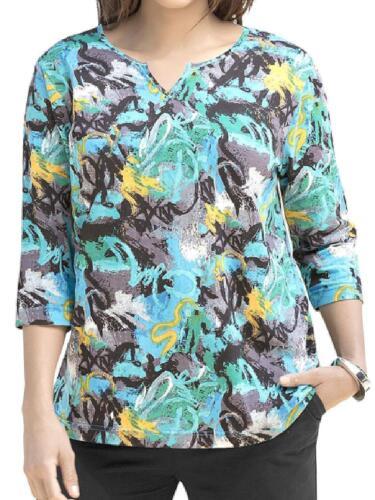 NEW Ulla Popken Blue /& Bold Colour Twist Signature Print Tunic Sizes UK 12 to 34