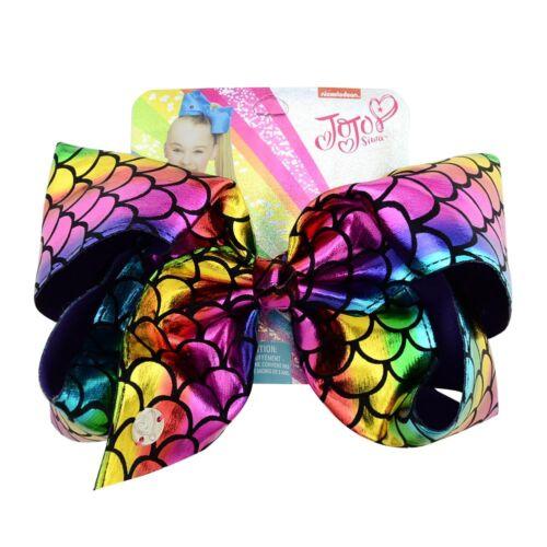 8inch Girls Kids JOJO SIWA Laser Hair Bow With Alligator Clip Rainbow Bowknot DY