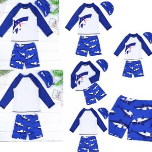0919e70261 Baby Boy Long Sleeve Sun Protection Swimwear Shark Pattern Bathing ...