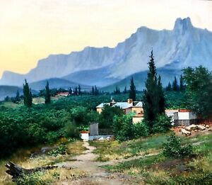 painting-art-Mishor-realism-vintage-decor-landscape-mountains-old-Crimea-color