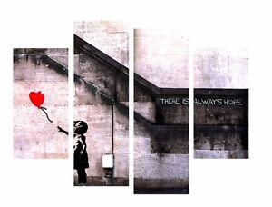Mon ChéRi Banksy There Is Always Hope Art Imprimé Photo Sur Encadrée Toile 4 Panneaux-afficher Le Titre D'origine Bon Pour AntipyréTique Et Sucette De La Gorge