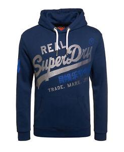 New-Mens-Superdry-Vintage-Logo-Hoodie-Blue-Black-Grit
