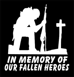 Soldier Kneeling At Cross Decal In Memory Of Our Fallen