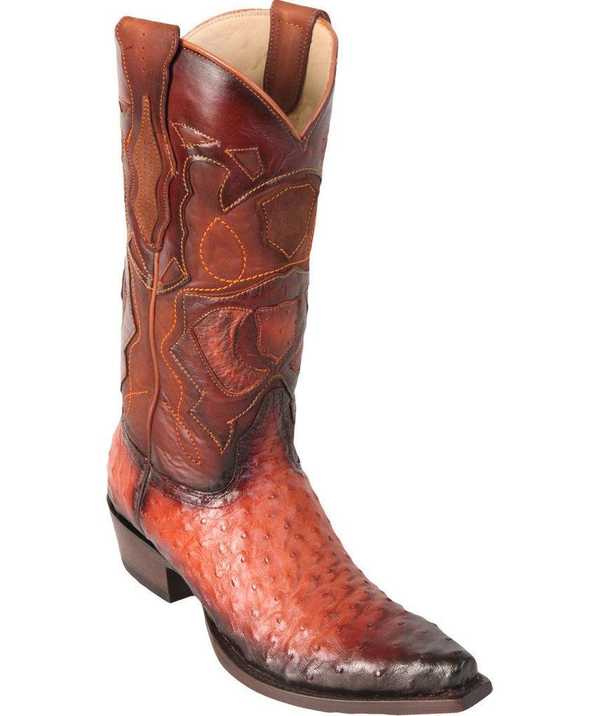 Los altos authentique cognac autruche Snip Toe Western Cowboy démarrage EE +