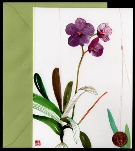 """Blank Greeting Note Card  NEW PAPYRUS  Orchids Purple Flowers  /""""Blue Vanda/"""""""