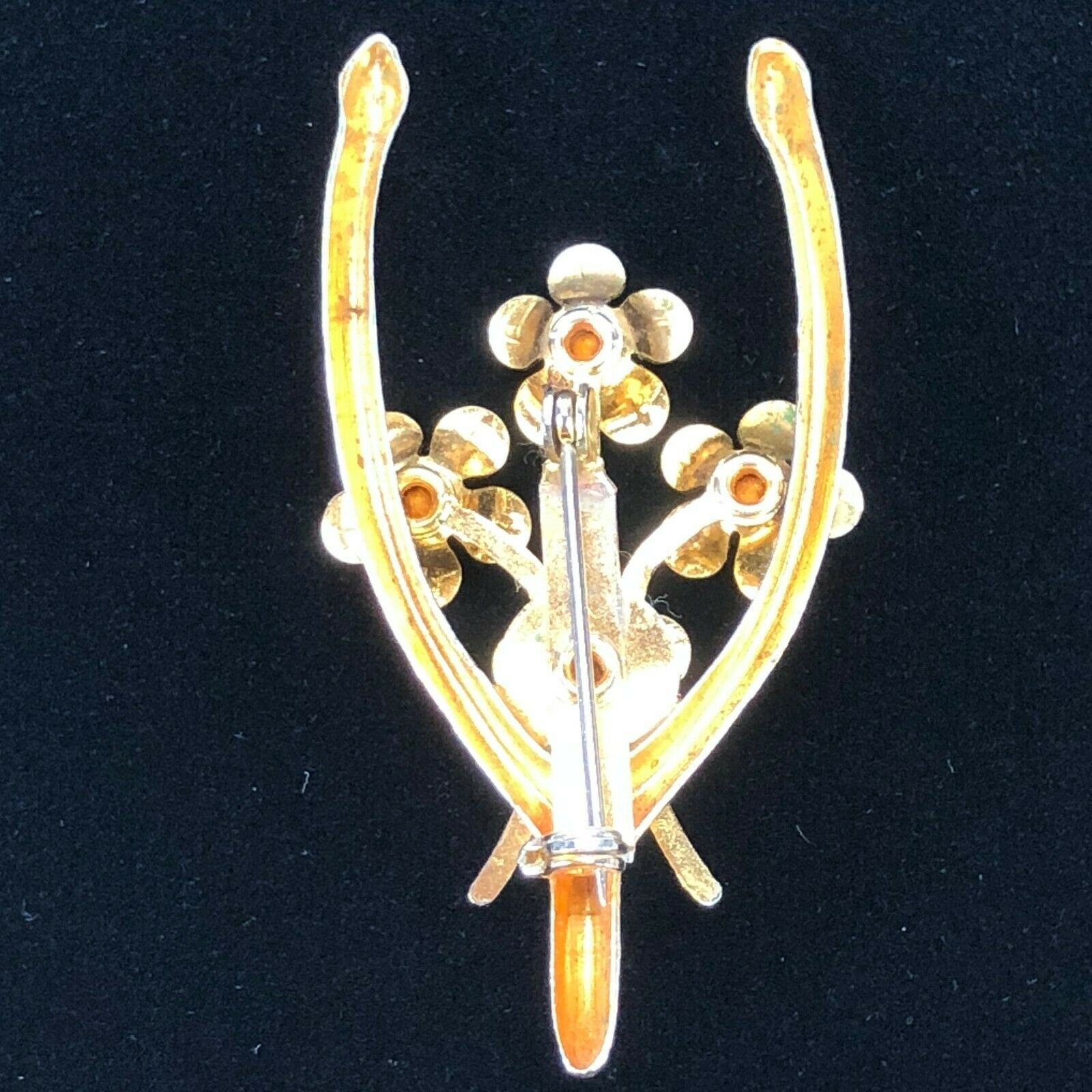 Good Luck WISHBONE Brooch Pin Delicate Lapel Jewelry Broach with Rhinestones