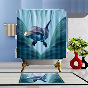 Exceptional Image Is Loading 3D Dolphin Bathroom  Shower Curtain Polyester Waterproof Doormat