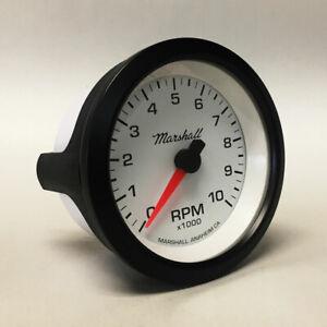 """Marshall 3-3/8"""" In Dash Tachometer, White Dial, Black Bezel, 2251BLK"""