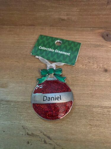 DANIEL Personalized Collectible Ornament by GANZ Red Glitter Christmas Ball