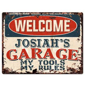 PPWG0913-WELCOME-JOSIAH-039-S-GARAGE-Chic-Sign-man-cave-decor-Funny-Gift
