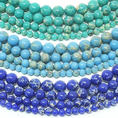 Natural Imperial Jasper Beads Sea Sediment Gemstone Round 6mm 8mm 10mm 12mm