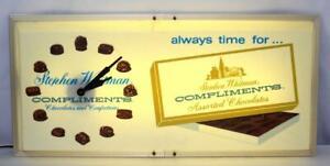 Rare Vintage 1950's Stephen Whitman Chocolates Light Up Sign w/ Clock