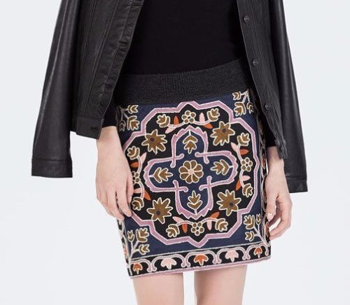 Zara Knitted Embroidered Geometric Skirt Size SMALL AND MEDIUM BNWT