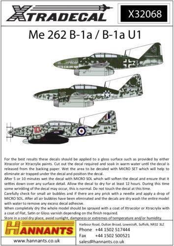 Xtradecal 1//32 Messerschmitt Me-262b-1a #32068