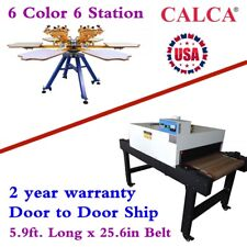 6 Color 6 Station Screen Printing Machine Amp Conveyor Tunnel Dryer 59ft X 256in