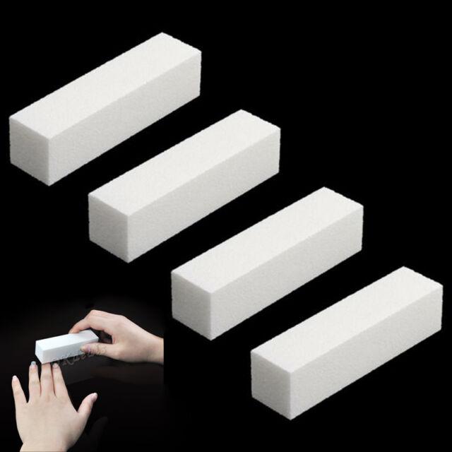 4Pcs Nail Art Buffer File Block Pedicure Manicure Buffing Sanding Polish White