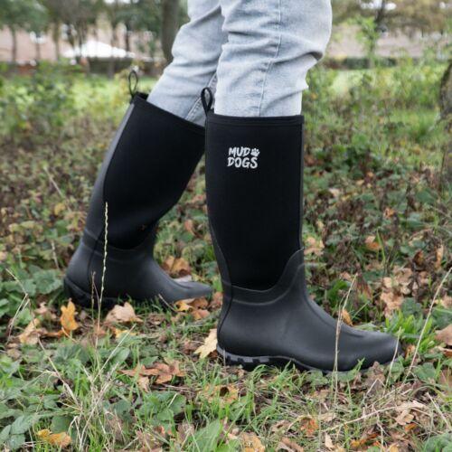 Mud Dogs RUTLAND Unisex Womens Mens Waterproof Neoprene Wellington Boots Black