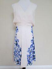 NWT Auth Max Mara Leandro White Blue Floral Silk Blend Shift Dress 40 US 6 $1525