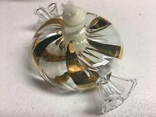 "NIB Princess House Crystal Candy Oil Lamp w// Gold Swirl Stripes #6470-4/"""